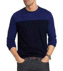 Van Heusen® Men's Big & Tall Long Sleeve Two-Tone Slub Crew Neck Sweater