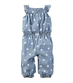 Carter's® Baby Girls' Polka Dot Denim Jumpsuit