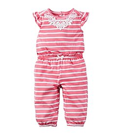 Carter's® Baby Girls' Pink Stripe Jumpsuit