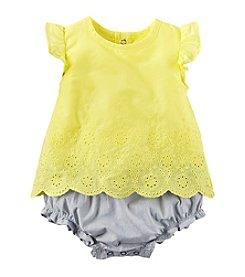 Carter's® Baby Girls' 2pc Set Eyelet Top-Bloomer