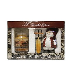 A Cheerful Giver Sledding Willie Snowman Figurine Praline Caramel Candle Set