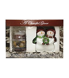 A Cheerful Giver Willie's Christmas Snowman Figurine Holiday Homecoming Candle Set