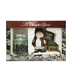 A Cheerful Giver Willie's Fresh Cut Snowman Figurine Balsam Fir Candle Set