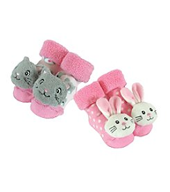 Stephan Baby® Set of 2 Pink Rattle Socks