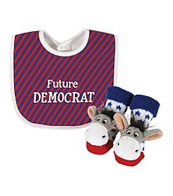 Stephan Baby® Democrat Bib and Rattle Socks Set