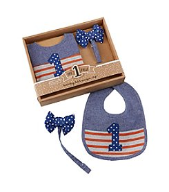 Baby Aspen My First Birthday Bow Tie Pacifier Clip and Bib Set