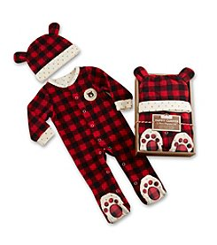 Baby Aspen Baby Boys' Red Plaid Fleece Pajama Gift Set