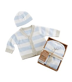 Baby Aspen Blue Stripe Cardigan and Cap