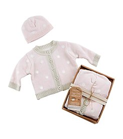 Baby Aspen Pink Polka Dot Cardigan and Cap