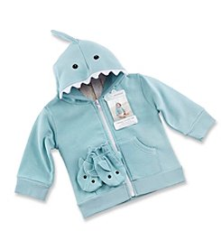 Baby Aspen Blue Shark Happy Hoodie and Mittens