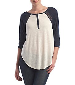 Skylar & Jade™ Crochet Back Raglan Top