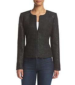 Calvin Klein Sequined Zip Front Jacket