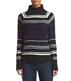 Chaps® Patterned Mock Neck Sweater