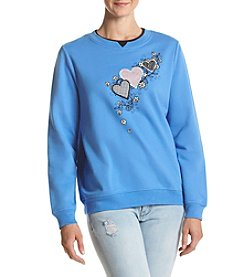 Breckenridge® Gingham Heart Trio Fleece Sweatshirt