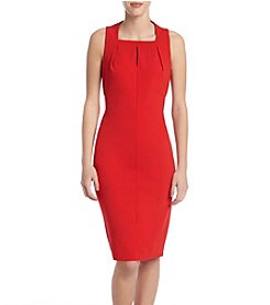 Calvin Klein Pleated Neck Sheath Dress