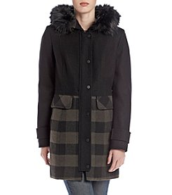 Lucky Brand® Plaid Faux Fur Trim Coat