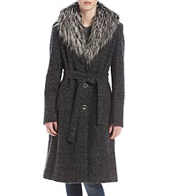 Ivanka Trump® Tie Front Faux Fur Collar Coat