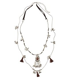 Ruff Hewn 2-Row Necklace With Center Cabachon, Tassels And Beads
