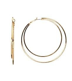 Relativity® 2-Row Square Edge Hoop Earrings