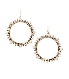 Relativity® Round Hoop Earrings With Stones And Pearls