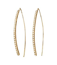 Relativity® Curved Stick Earrings With Clear Pave Set Stones