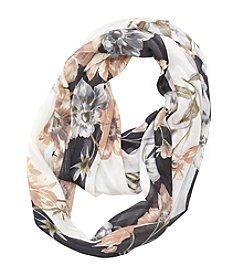 Collection 18 Bordered Floral Loop Scarf