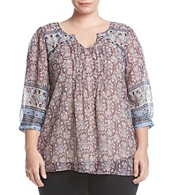 Eyeshadow® Plus Size Scarf Print Blouse