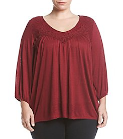 Eyeshadow® Plus Size Lace Yoke Knit Top