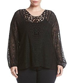 Eyeshadow® Plus Size Allover Lace Top