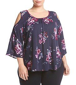 Living Doll Plus Size Floral Cold-Shoulder Blouse