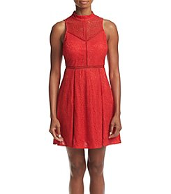 GUESS Lace Sheer Top Fit And Flare Dress