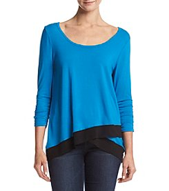 Chelsea & Theodore® Sheer Hem Scoop Neck Top