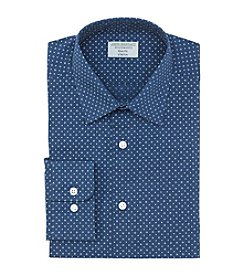 John Bartlett Statements Men's Slim Fit Dotted Spread Collar Dress Shirt