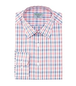 John Bartlett Statements Men's Slim Fit Grid Pattern Spread Collar Dress Shirt