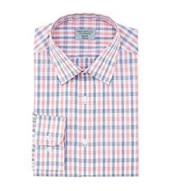 John Bartlett Statements Men's Slim Fit Grid Pattern Spread Collar Dress Shirt