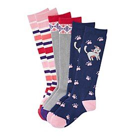 Little Miss Attitude Girls' 3-Pack Cat Knee Highs