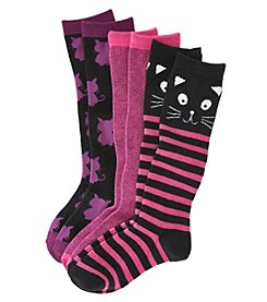 Little Miss Attitude Girls' 3-Pack Kitty Knee Highs
