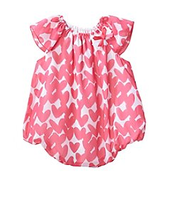 Cuddle Bear Baby Girls' Heart Flutter Sleeve Bubble Romper