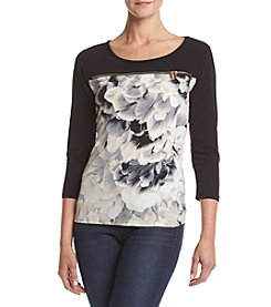 Calvin Klein Floral Print Scoop Neck Top With Zipper Detail