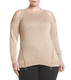 MICHAEL Michael Kors® Plus Size Cold Shoulder Metallic Sweater With Zippers