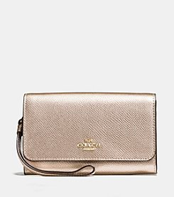 COACH BOXED PHONE CLUTCH IN METALLIC LEATHER