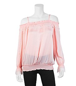 A. Byer Off-Shoulder Sheer Top