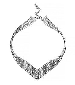 Jessica Simpson Rhodium Bead V Necklace