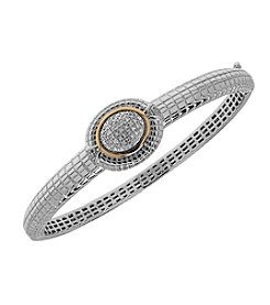 0.20 ct. t.w. Diamond Bangle in Textured Sterling Silver and 14K Yellow Gold