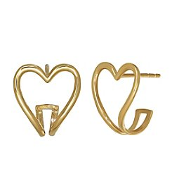 Polished Open Heart Small Hoop Earrings in 14K Yellow Gold
