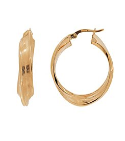 Polished Pattern Semi-Twist Hoop Earrings in 14K Yellow Gold