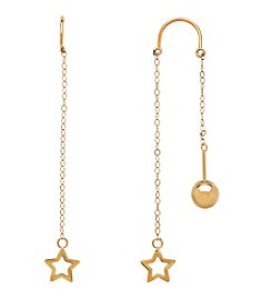 Bead and Star Dangle Earrings in 14K Yellow Gold