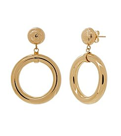 Polished Hoop Dangle Earrings in 14K Yellow Gold