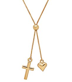 14K Yellow Gold Polished Cross and Heart Lariat Necklace