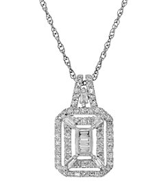 10K White Gold 0.33 ct. t.w. Diamond Pendant Necklace